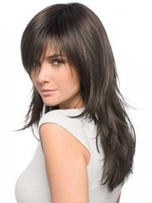 Layered Long Textured Front Lace Human Hair Wig