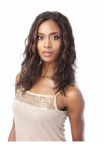 Comfortable Long Human Hair Lace Front Wig Without Bangs