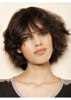 Medium Length Capless Human Hair Wig With Bangs