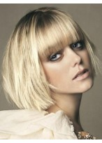 Short Human Hair Capless Wig With Bangs