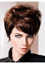 Chic Short Wavy Remy Human Hair Capless Wig