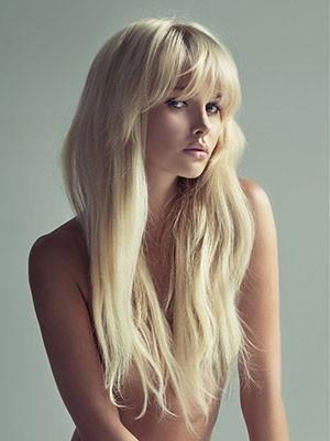 With Bangs Cheap Straight Human Hair Capless Wig